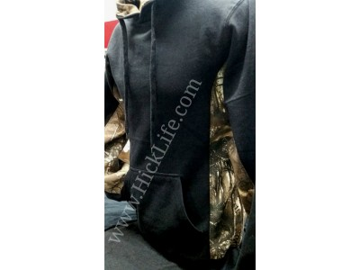 Black Realtree Inspired Camo Trimmed Hoodie
